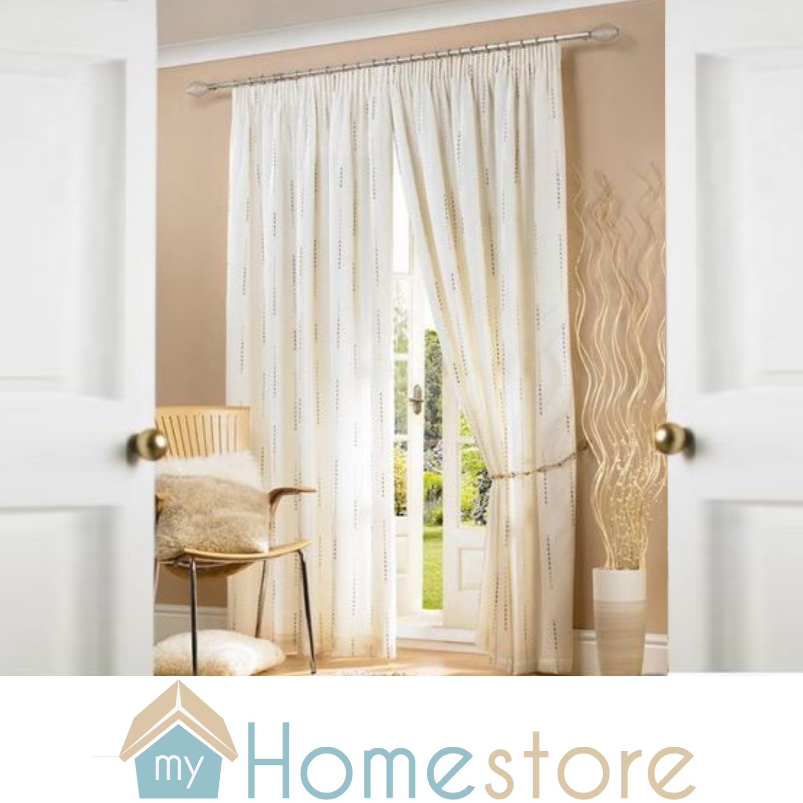 Ready Made Curtains Fully Lined Pencil Pleat Voile Style Contemporary Value Ebay