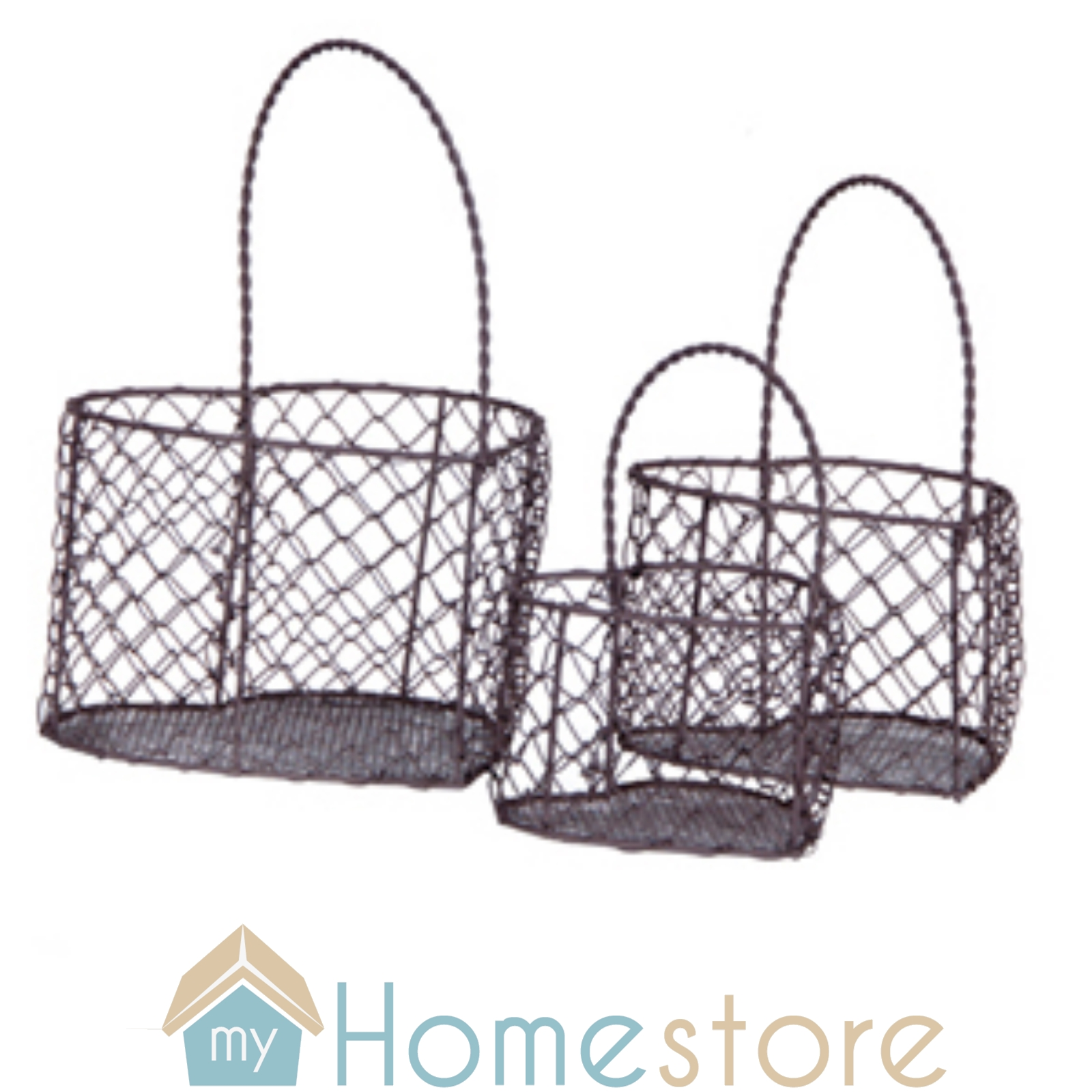 shabby chic set of 3 pretty wire baskets heart shape ebay